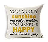 Ning-store High Quality You Are My Sunshine You Make Me Happy Design Cotton Linen Decorative Throw Pillow Case Sofa Pillow Cushion Cover