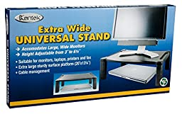 Kantek Extra Wide Height-Adjustable Monitor/Laptop Stand, 20 X 13 X 3 to 6-1/2 Inches, Black (MS500)