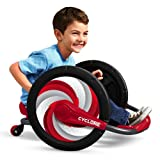 """Zoom, Spin and Grin with Cyclone from Radio Flyer. Using arm powered action, you can spin 360⁰ for unlimited fun. Whether you are zooming forward or rolling in reverse, the 16"""" wheels offer a smooth ride. This ride on also features comfort handgrips ..."""