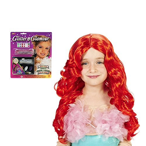 Ariel Costume With Tail (Red Mermaid Child Wig and Glitter Makeup Bundle Set)