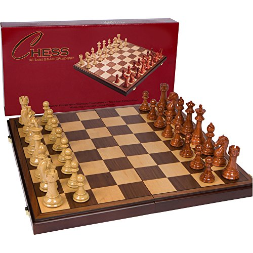 Abigail Chess Inlaid Wood Folding Board Game with Pieces - 21 Inch Set ()