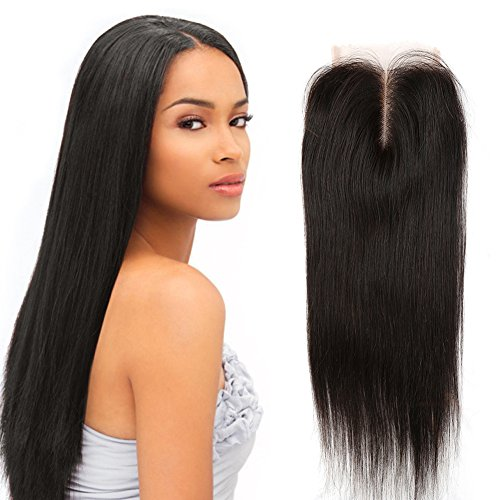 Sent Hair Lace Closure Middle Part Straight Virgin Human Hair Closure Bleached Knot Natural Color 4x4 (16 inch) (M16 Base)