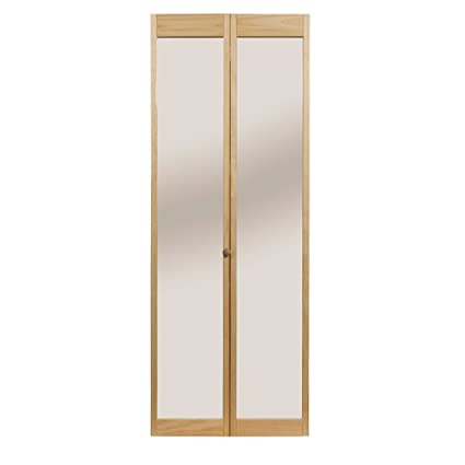 Pinecroft 890726 Traditonal Mirror Bifold Interior Wood Door, 30u0026quot; X  80u0026quot;, Unfinished