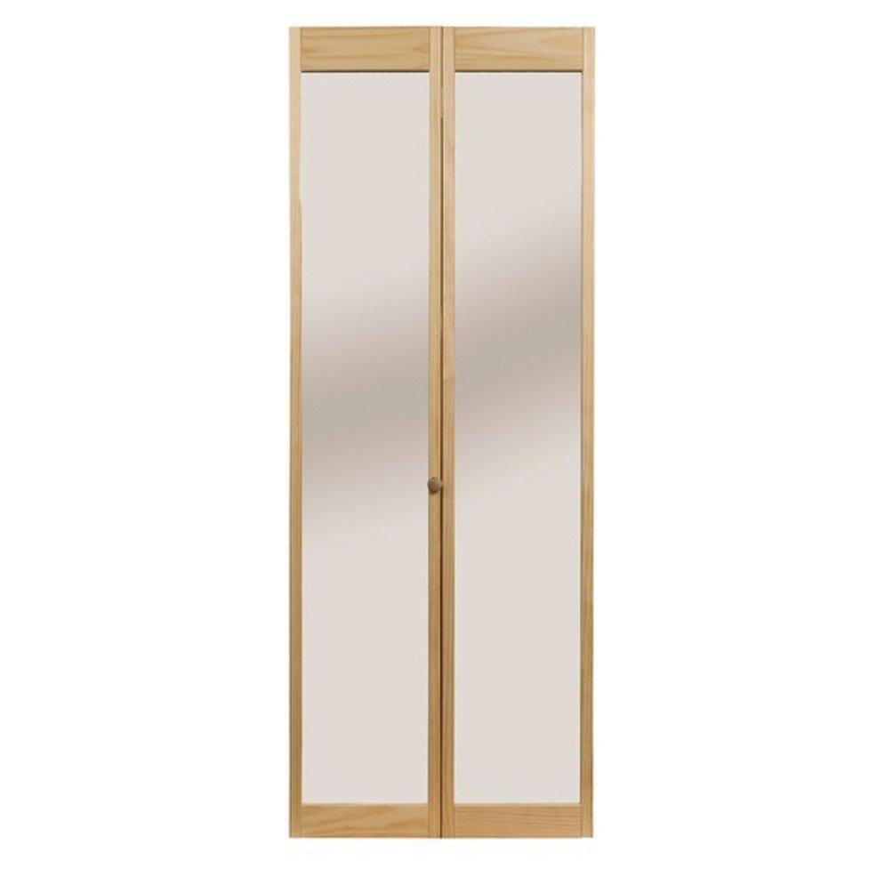 Pinecroft 890726 Traditonal Mirror Bifold Interior Wood Door, 30'' x 80'', Unfinished