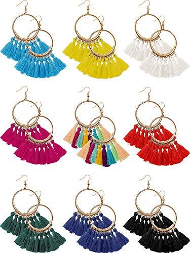 9 Pairs Tassel Hoop Earrings Bohemia Fan Shape Drop Earrings Dangle Hook Eardrop for Women Girls Party Bohemia Dress Accessory (Multicolor A)