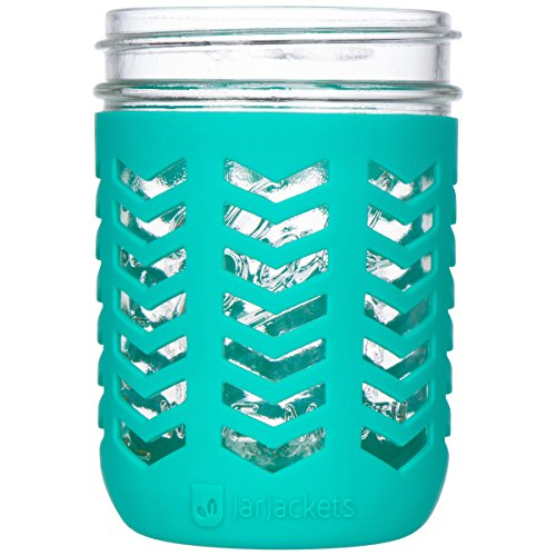 JarJackets Silicone Mason Jar Protector Sleeve - Fits Ball, Kerr 16oz (1 pint) Wide-Mouth Jars | Package of 1 (Lagoon)