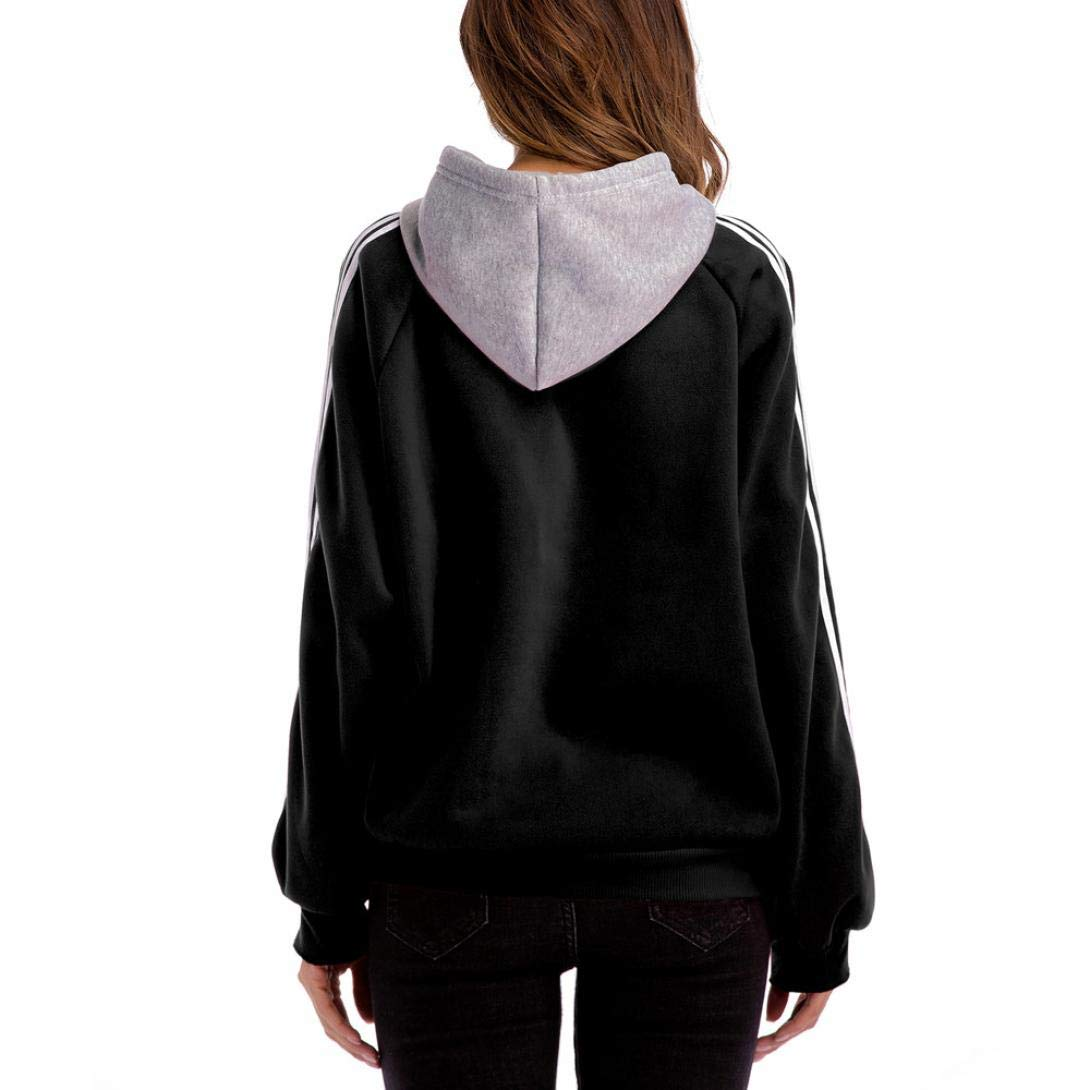 Loose Striped Block Hooded for Women Plus Size Sweatshirt Casual Color Blouse