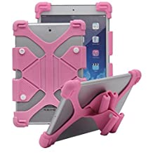 Tsmine Samsung Galaxy Tab4 Advanced 7.0 (SM-T230NW) Tablet Silicone Shockproof case -Universal Elastic Stand Soft Skin Cover,Pink