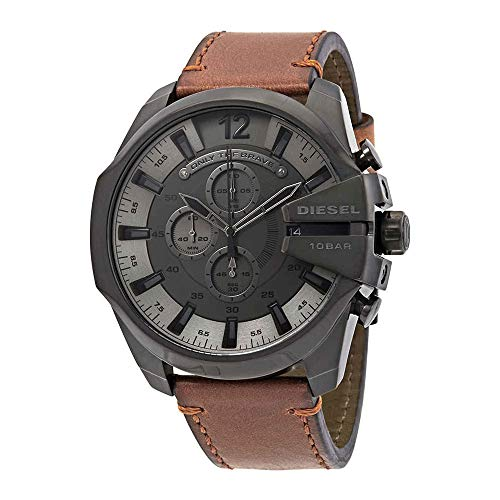 Diesel Mens Brown Leather - Diesel Men's Mega Chief Stainless Steel Japanese-Quartz Watch with Leather Calfskin Strap, Brown, 26 (Model: DZ4463)