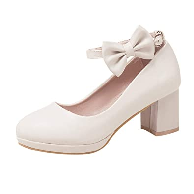dd7c3338f66 Coolulu Womens Mary Janes Pumps Mid Block Heel Court Shoes with Bows Ankle  Strap Buckle Sweet