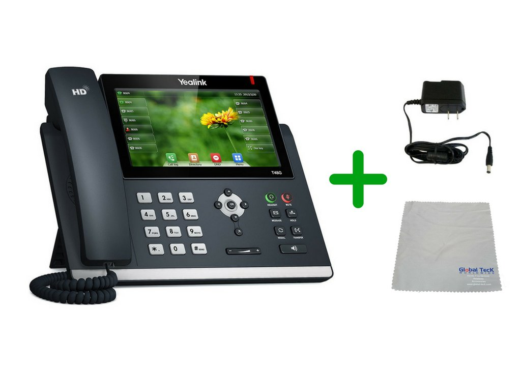 Yealink T48G SIP POE Office Phone Bundle with Power Supply and Microfiber Cloth | Requires VoIP Service - Vonage, Ring Central, 8x8, Mitel or Cloud Services (T48G Basic Bundle) by Global Teck Worldwide