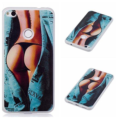 Funda Huawei P8 LITE 2017,XiaoXiMi Carcasa de Silicona TPU Suave y Esmerilada Funda Ligero Delgado Carcasa Anti Choque Durable Caja de Diseño Creativo - Mariposa Chicas Sexy