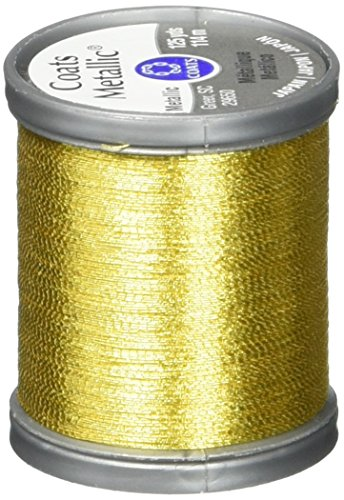 Coats Thread & Zippers Metallic Thread, 125-Yard, Bright Gold (Gold Metallic Thread)