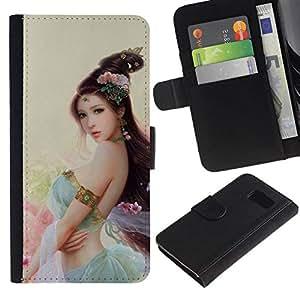 All Phone Most Case / Oferta Especial Cáscara Funda de cuero Monedero Cubierta de proteccion Caso / Wallet Case for Samsung Galaxy S6 // ASIAN FLOWER PRINCESS