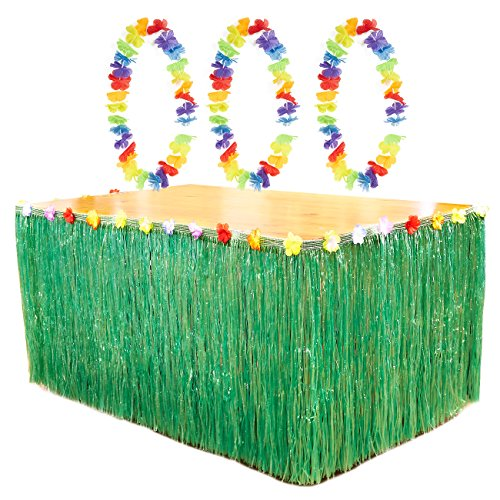 Green Luau Table Skirt - Hawaiian Grass Table Skirt with 3 Leis and 6 Metal Clamps, Table Tutu, Tropical Party Table Decoration, 8.6 x 2.35 Feet
