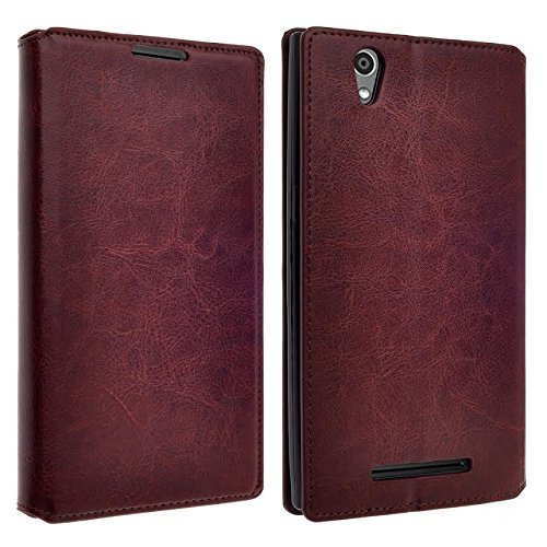 ZTE Lever LTE Case, ZTE Z936L Case, ZTE Z936C Case- Magnetic Leather Folio Flip Book Wallet Pouch Case Cover With Fold Up Kickstand (Brown Slim Wallet)