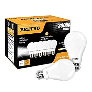 BEETRO Lighting A19 LED Bulbs, E26 Base, 70w Equivalent, 900 Lumens, Daylight 5000k Pack of 6pcs