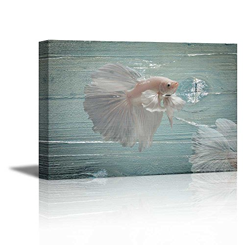 White Golden Fish on Vintage Wood Background Rustic ation