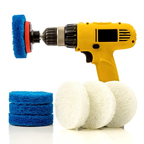 1st Place Bathroom & Kitchen Power Scrub Pad Cleaning Kit - 9 Piece Set Includes EXTRA Scrub Pad - Saves Time & Money - Shower Pad