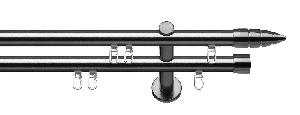 Tilldekor Innenlauf Gardinenstange MENORCA, 2-Lauf,  edelstahl optik, Ø 20 mm, 240 cm, inkl. Trägern und Gleitern