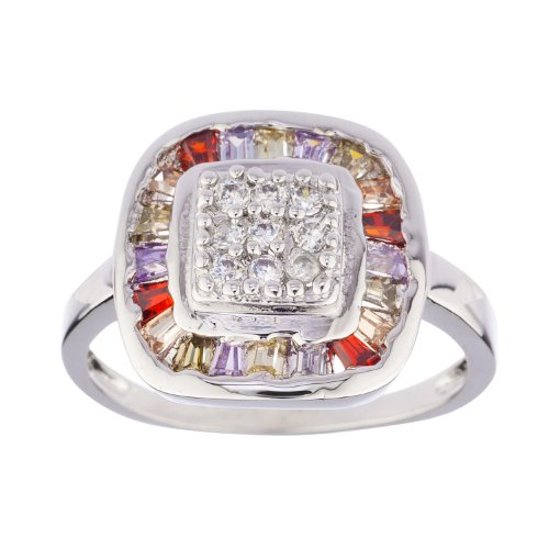 New 925 Sterling Silver Ring with Multicolor Cz Stones Surrounded By Square Rim (9)