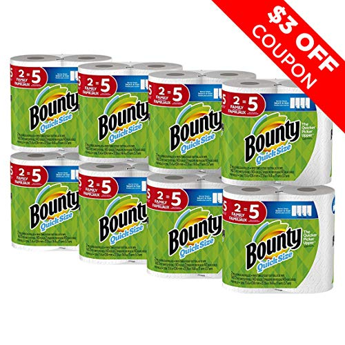 Bounty Quick-Size Paper Towels, White, Family Rolls, 16 Count