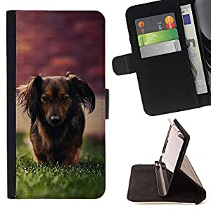 Dachshund Little Brown Dog Longhair Grass - Painting Art Smile Face Style Design PU Leather Flip Stand Case Cover FOR Samsung Galaxy S3 III I9300 @ The Smurfs