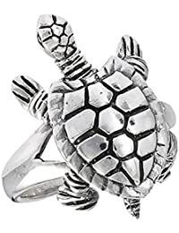 Movable Head Legs Tail Turtle Ring Sterling Silver Detail Animal Band Sizes 6-9