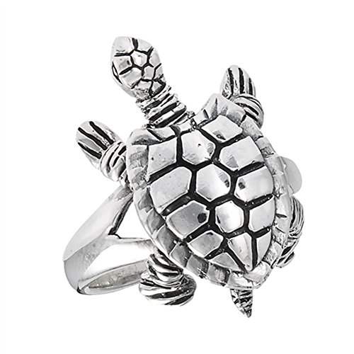 Movable Head Legs Tail Turtle Ring Sterling Silver Detail Animal Band Size 7