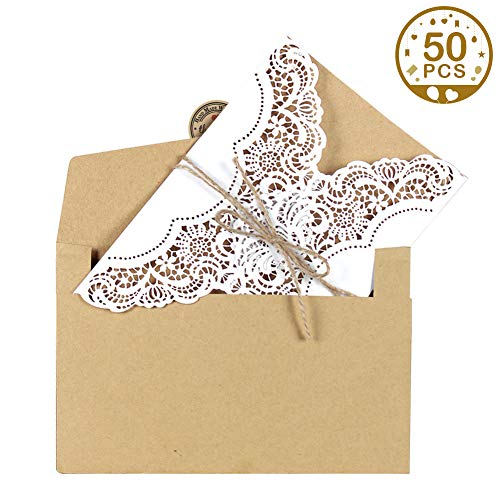 Aytai 50pcs Wedding Invitation Cards Laser Cut Party Invitations with Envelopes Brown Kraft Card Inserts for Wedding Baby Shower Birthday Party Supplies