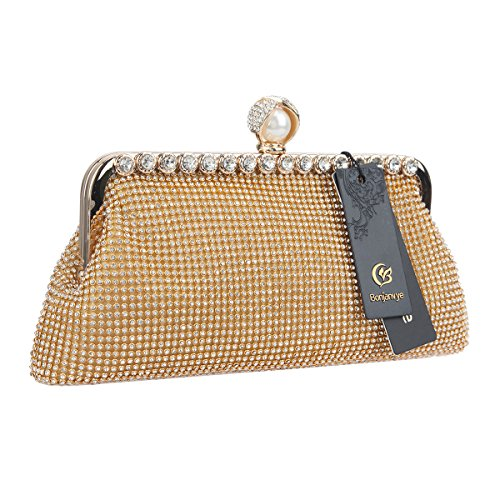 Women Soft Clutch Bags Purses Evening Gold Formal Bonjanvye Handbags And For qAWItHn7
