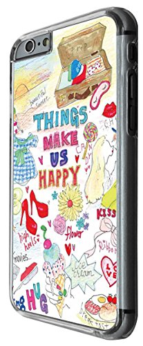 1220 - Things Make Girls Happy Shopping Shoes ice Cream Flowers Kiss Design For iphone 6 Plus / iphone 6 Plus S 5.5'' Fashion Trend CASE Back COVER Plastic&Thin Metal -Clear