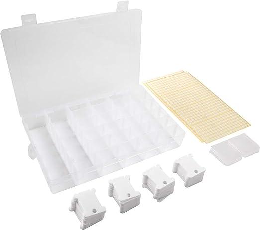 Juego de caja organizadora de punto de cruz con hilo de bordar,120 bobinas de hilo de plástico blanco con caja de almacenamiento rejillas 476 pegatinas en blanco con puntos para manualidades: Amazon.es: