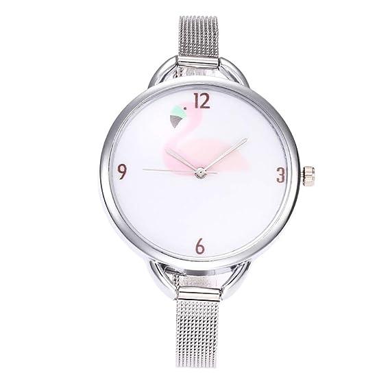 homim Mujer Reloj De Pulsera Plata Color estrecho Malla Acero inoxidable pulsera grande flamingo Imprimir Esfera batería Reloj Mujeres analógico de cuarzo ...
