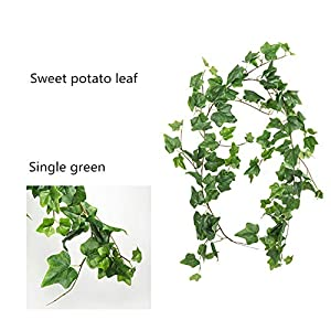 ShineBear Artificial Flowers Willow/Begonia/Sweet Potato Leaf Wedding Ceiling Winding Road Layout Rattan Window Fake Flowers Decoration - (Color: Green) 47