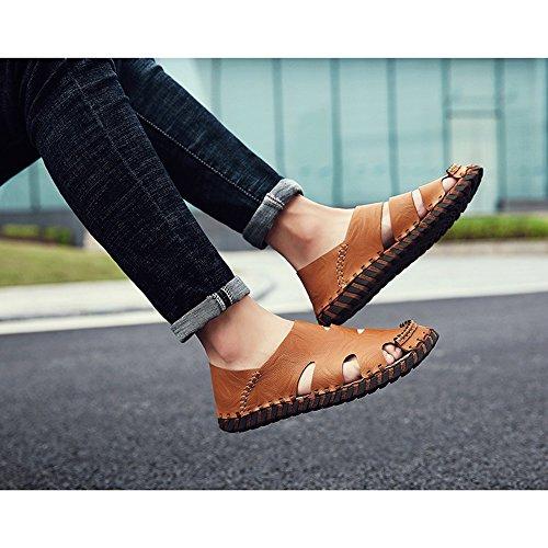 Sandali 2 Size sportivi uomo Sandali 3 da da Brown da all'aperto pelle pescatore spiaggia scarpe 42 estivi Color Sandali in spiaggia Brown da EU qqRrnUw4x