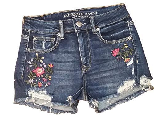 American Eagle Hi Rise Shortie Shorts Medium Wash Embroidered Flowers (8) (Short American Women Eagle)