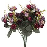 Duovlo-7-Branch-21-Heads-Artificial-Flowers-Bouquet-Mini-Rose-Wedding-Home-Office-DecorPack-of-2-2-PCS-Purple