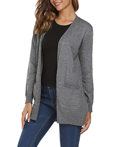 Bifast Women Boyfriend Open Front Ribbed Knit Cardigan With Pockets - Womens Ribbed Knit Cardigan