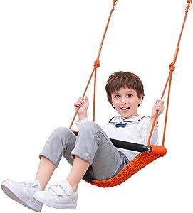 Toddler Swing, Hand-Knitting Adjustable Rope Kids Swing Seat, Bucket Chair Baby Swings Set for Tree, Indoor, Outdoor, Playground Garden
