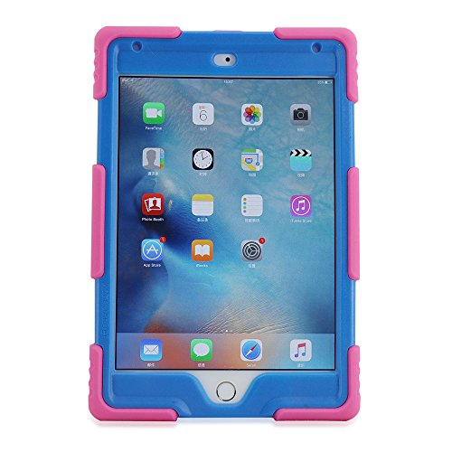 iPad Mini 4 Case, KIDSPR Kids Case Dirtproof Shockproof Cover Case with Kickstand and Extreme Heavy Duty Stand Super Protection for Apple iPad Mini 4 (iPad Mini 4, Pink Blue)