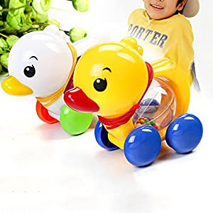 Sealive Cute Animals Toy Plastic Duck Toy Baby Push Pull Toy for Toddler Learning Walker Educational Toy,Hight Quality Plastic Drawstring Rattles Baby Walker 1pc