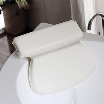 Bathtub Pillow, Bath Pillow Cushion with Non-Slip Suction Cups for Head and Neck Support for Bathtub, Hot Tub, Jacuzzi, PU Sponge Home Spa Headrest(White)
