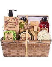 BRUBAKER Cosmetics Bad- en Doucheset Papaverbloemen Geur - 14-delige Cadeauset in Plantenmand - met Nagelborstel