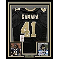 Framed Autographed/Signed Alvin Kamara 33x42 New Orleans Saints Black Football Jersey JSA COA