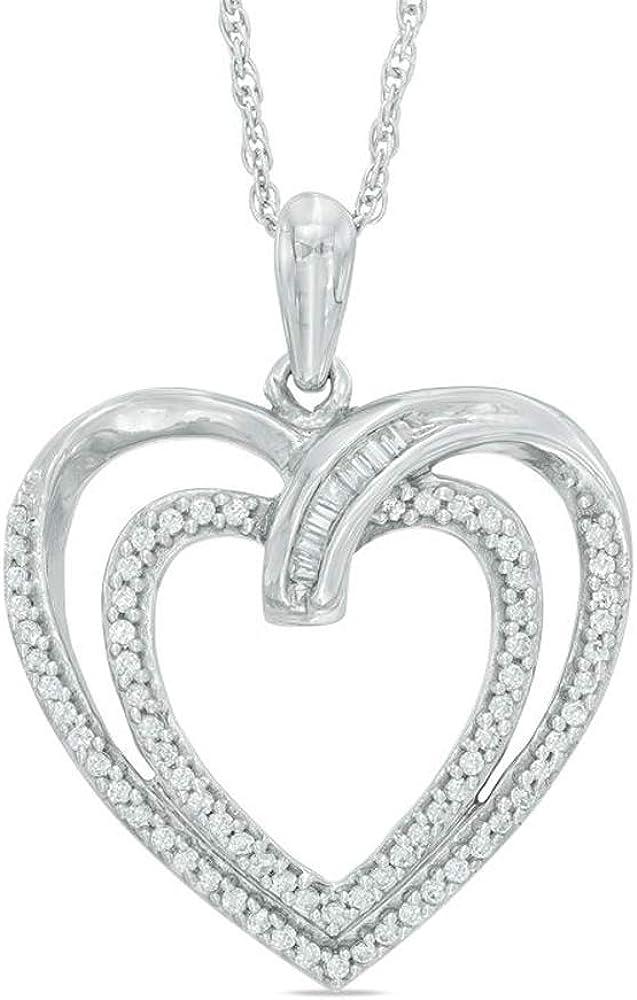 Silvercartvila 0.25 Cts Sim In 14K White Gold Plated Diamond Double Heart Pendant W//18 Chain