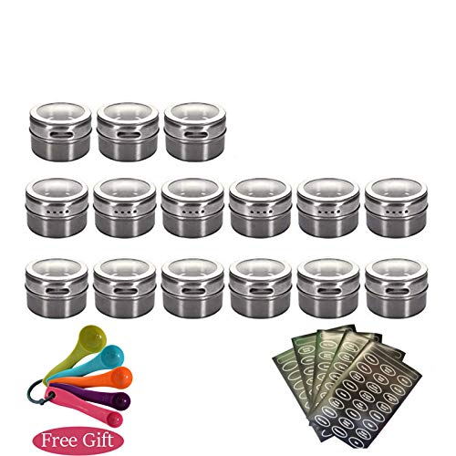 Herb & Spice Tools | Magnetic Spice Jars Container Set With Labels Stickers Pen Seasoning Bottle Pepper Storage Favor Of Elefants | By ATUTI by ATUTI