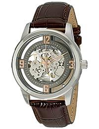 Stuhrling Original Men's 877.03 Winchester Automatic Self-Wind Skeleton Brown Genuine Leather Strap Watch