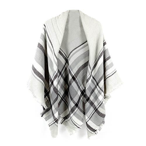 Women's Cozy Tartan Blanket Scarf Wrap Shawl Neck Stole Warm Plaid Checked Pashmina (Grey White) ()