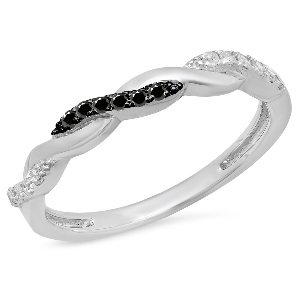 Dazzlingrock Collection 0.15 Carat (ctw) Sterling Silver Round Black & White Diamond Ladies Swirl Wedding Band (Size 7)
